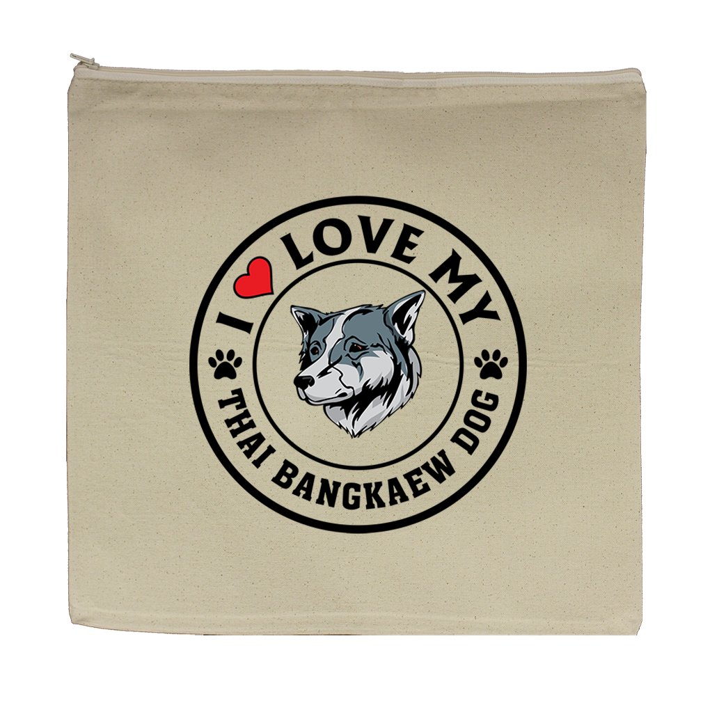 Canvas Zipper Pouch Bag 5.5''X7.5'' I Love My Thai Bangkaew Dogdog Style 1 by Style in Print