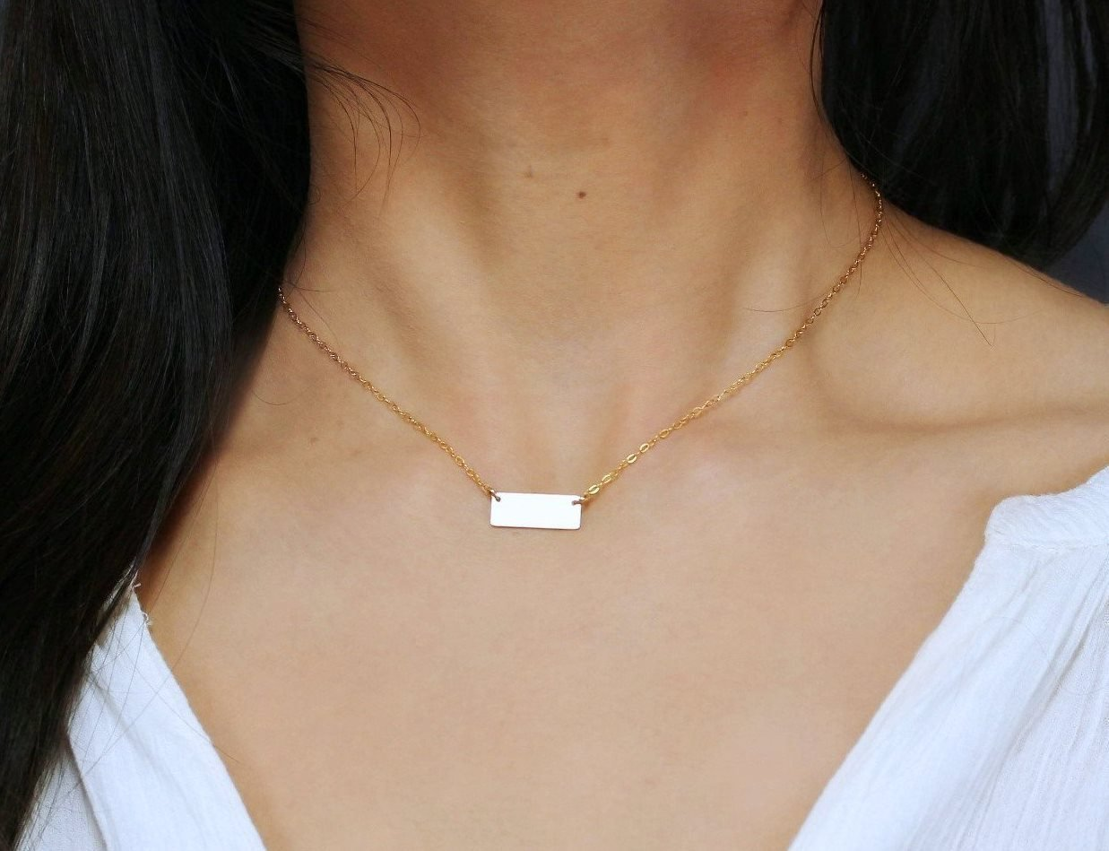 8a31196bda68bf Small 14K Gold Fill Bar Necklace, Personalized Minimal Rectangle Initial Pendant  Necklace, Tiny Name Plate Bar Jewelry 14K Rose Gold Fill or 925 Sterling ...