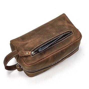Bolso de Embrague de la Cartera de la Cremallera del Cuero Genuino de los Hombres o Bolso de tocador para el Recorrido Diario (Marrón): Amazon.es: Equipaje