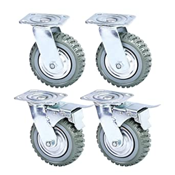 Nisorpa 6 Swivel Caster Wheels,Heavy Duty 4PCS Pack Anti-Skid Rubber Swivel Casters Mute with 360 Degree Ball Bearing Castor Wheels Top Plate 2PCS with Brake Lock,2PCS Without Brake Lock