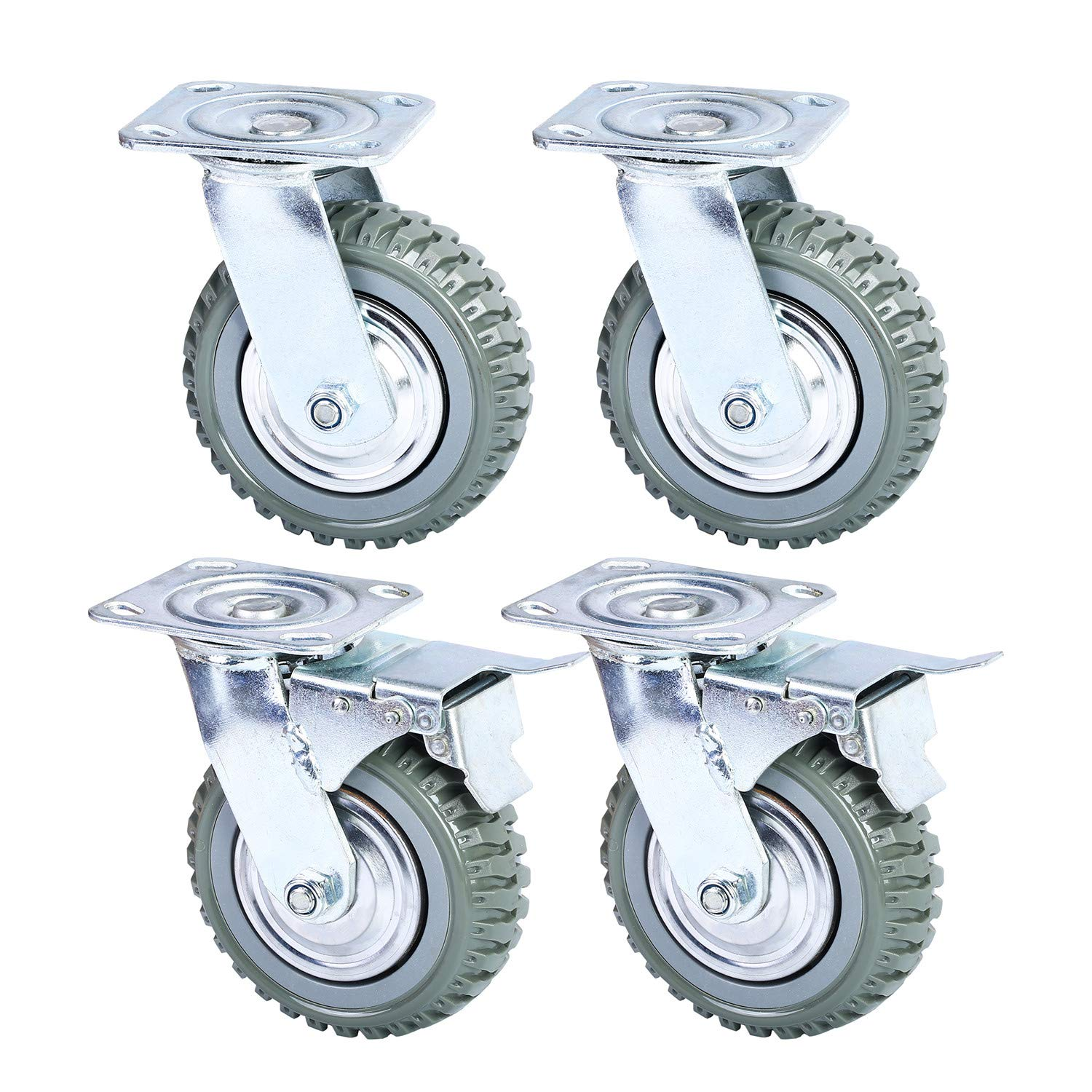 6'' Swivel Caster Wheels Anti-Skid PU Swivel Casters with 360 Degree for Set of 4 (2 with Brake Lock,2 Without Brake Lock)