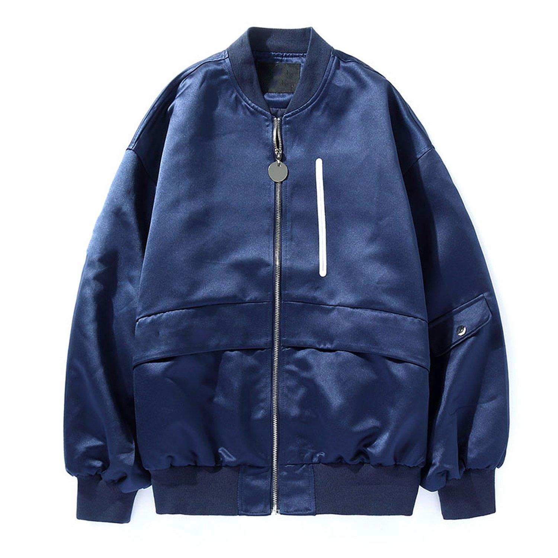 2018 Spring Pink Baseball Uniform Wind Baseball Satin Short Coat Jacket Ins Super Fire,M (Pre-Sale About 3 Days),Navy Blue