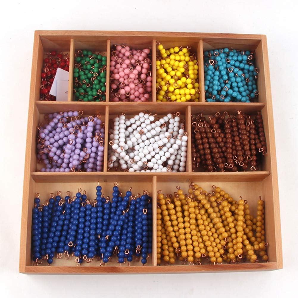 Wumudidi Montessori Matemáticas Materiales Bead Decanomial con La Caja, 1-10 De Color Palo De Cuentas con Cuentas De Tablero De Ajedrez (15 * 15 * 1.77Inch): Amazon.es: Deportes y aire libre