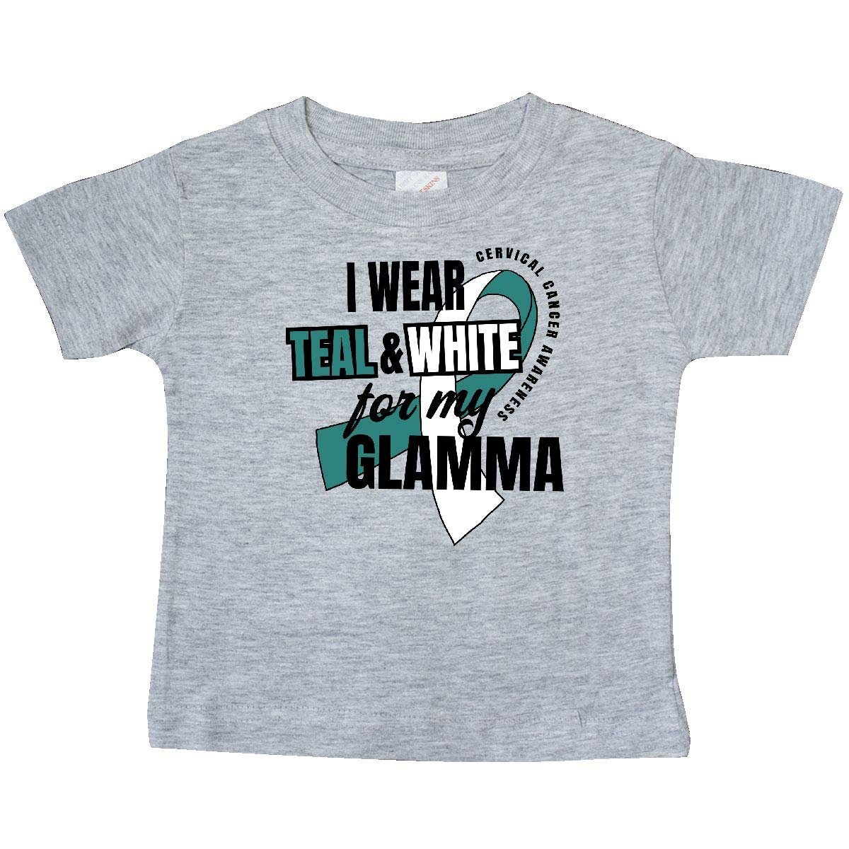 inktastic I Wear Teal and White for My Glamma Cervical Cancer Baby T-Shirt