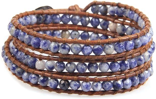 Stacking Bracelets Boho Chic Bracelets Women/'s Bracelet Cuff Blue Summer Bracelet Leather Bangle Bracelets Leather Wristband Bracelet