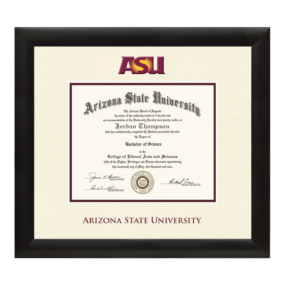 Arizona State University Diploma Frame – Textured Ivory & Maroon Matting with Official ASU Logo – 8.5 x 11 Diploma Size – By Church Hill Classics by Church Hill Classics