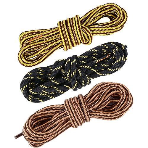 AONER 3 Pares Cordones Redondos de Bota Montaña Zapatos Senderismo 5mm Patin Multicolores Rayas Resistente y