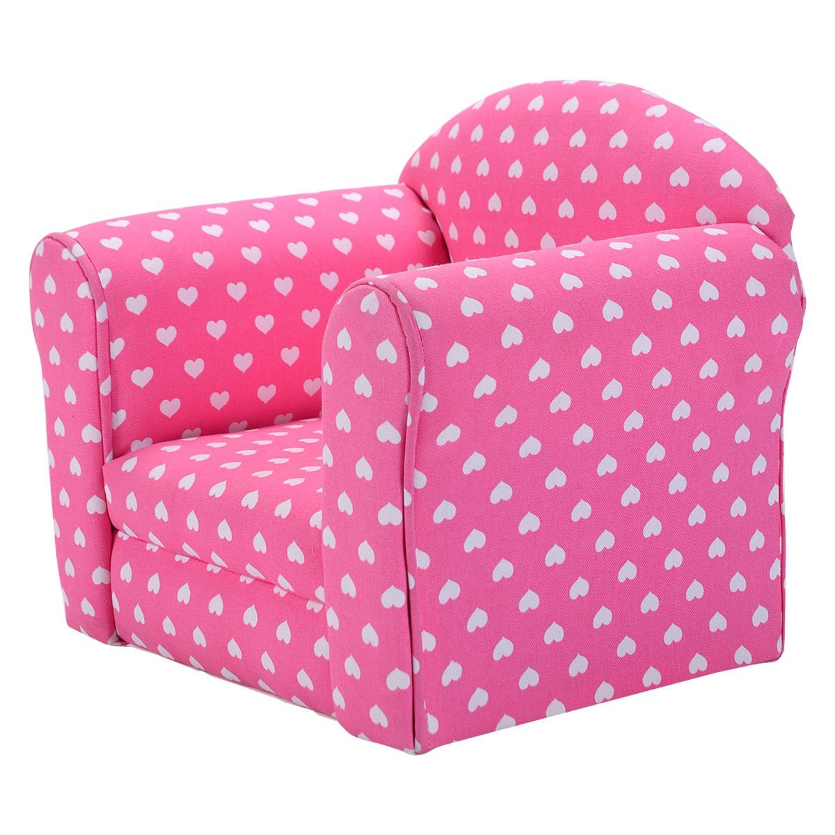 Heart-shaped Printed Armrest Children Couch 2 Colors - By Choice Products (Pink)