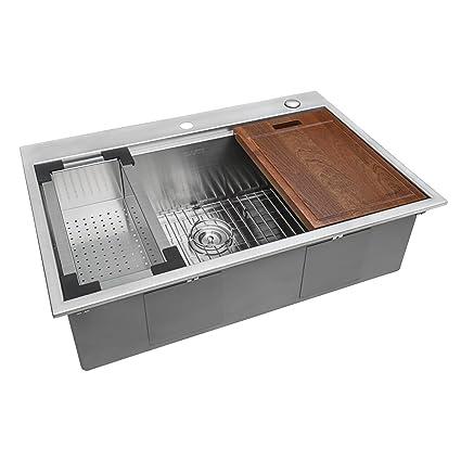 Ruvati 33 x 22 inch Workstation Ledge Drop-in Tight Radius 16 Gauge  Stainless Steel Kitchen Sink Single Bowl - RVH8003