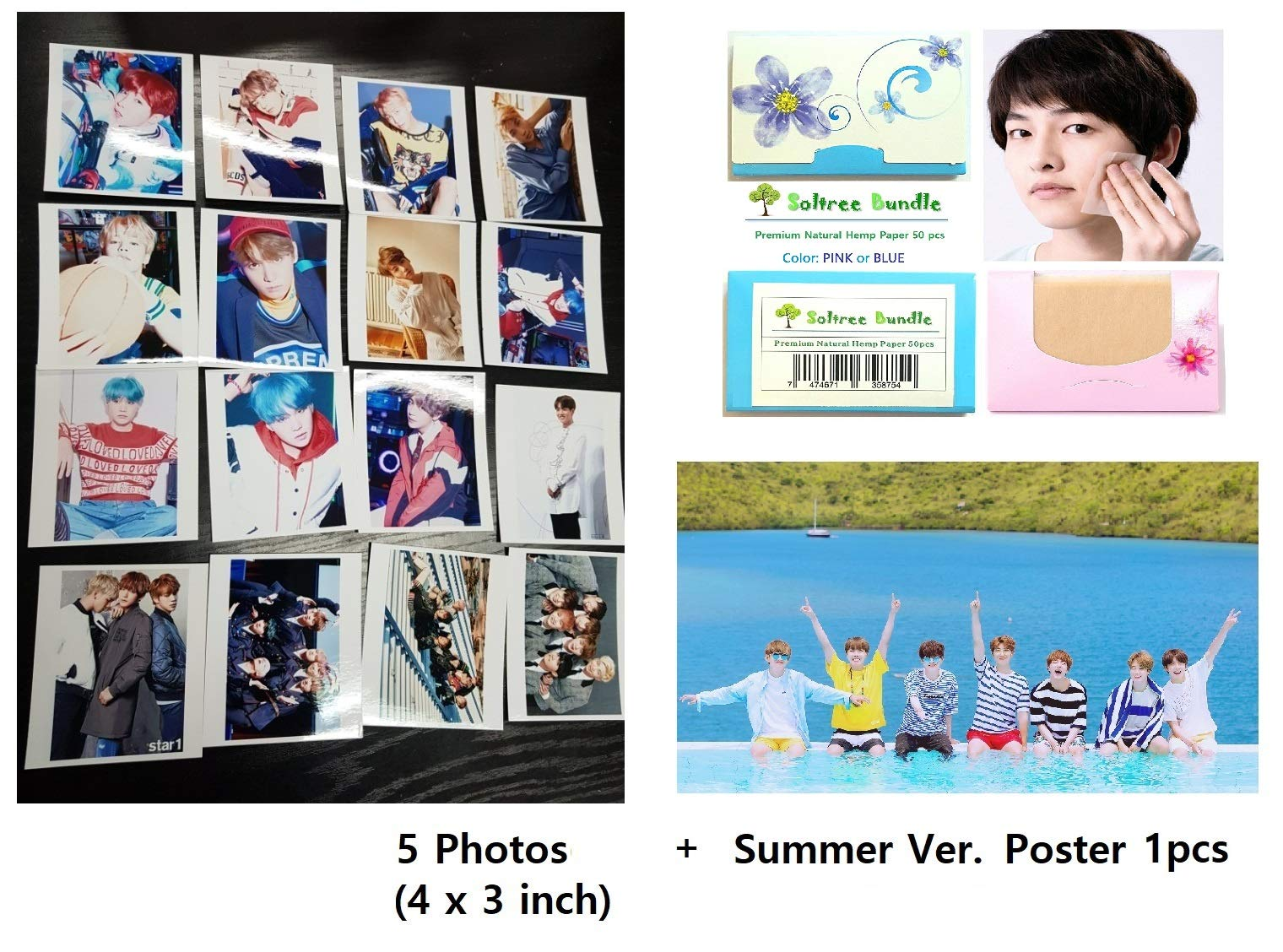 BTS Bangtan Boys - 12 PHOTO POSTERS(16.5 x 11.7 inches) + 1 STICKER + 5 Photos(4 x 3 inches)