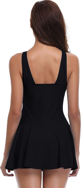 Medium, Manhattan Black SHEKINI Womens One Piece Skirt Swimsuit Ruched Retro Swimdress Bathing Suit