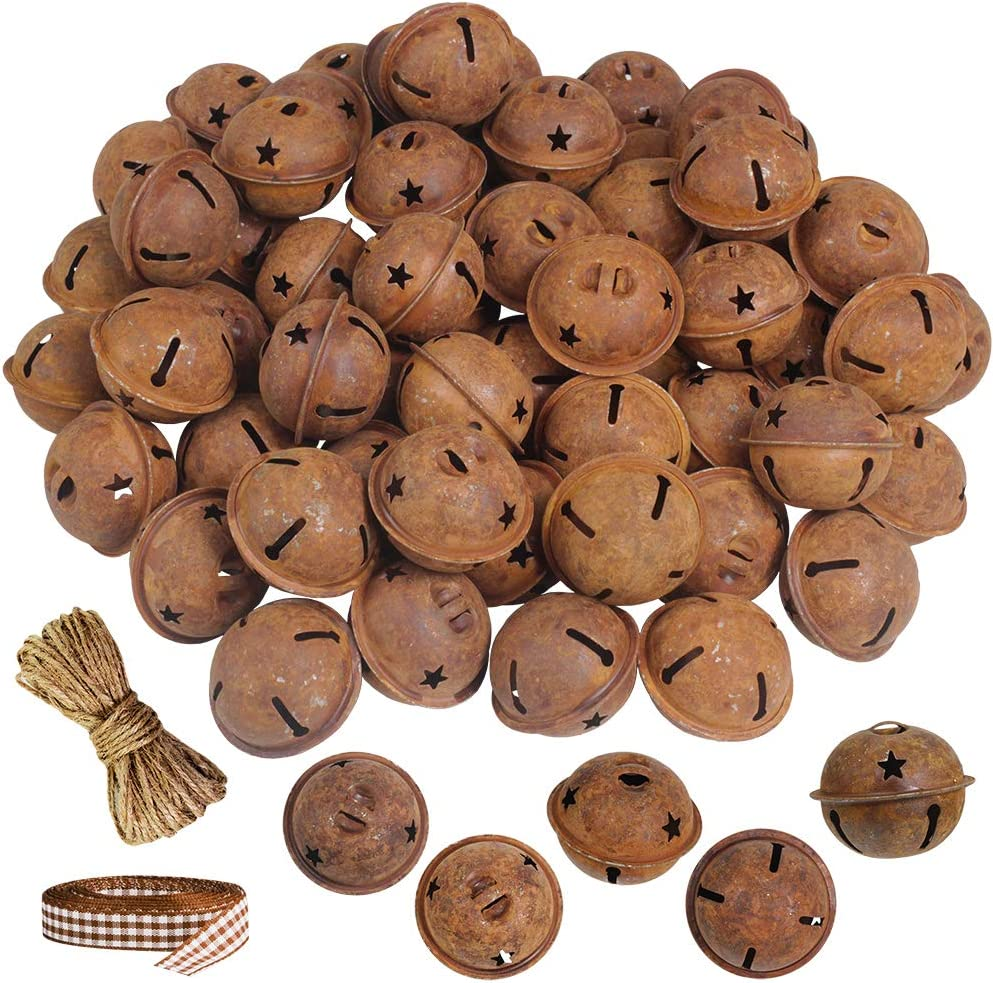 """Winlyn 60 Pcs Rusty Jingle Bells with Star Cutouts Bulk Christmas Sleigh Bells Rustic Metal Craft Bells Star Bells 1.6"""" with Jute Rope Ribbon for Christmas Tree Holiday Season Primitive Country Décor"""