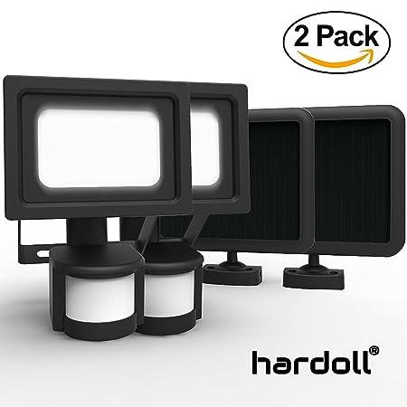 Hardoll Solar Lights COB LED Motion Sensor Lamp for Home Garden Waterproof Lantern (Black) - Pack of 2