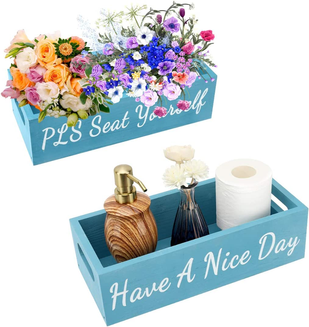 Shinowa Bathroom Decor Box with Handles, Toilet Paper Holder, Decorative Wooden Organizer Funny Farmhouse Rustic Style Toilet Tissue Storage Box for Toilet Tank Bath Tub, Bedroom Organization, Blue