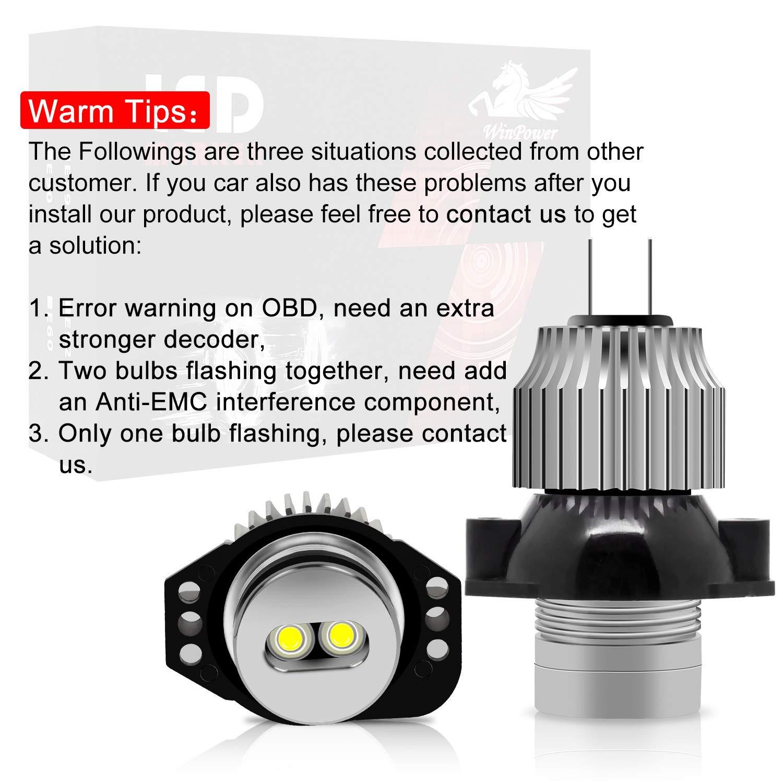 Win Power H8 40W LED Fari Angel Eyes per auto Kit di conversione alogeno CanBus nessun errore Luci di posizione CREE 6000K Xenon bianco E82 E87 E90 E91 E92 E93 E60 E61 E64 E70 E71 E89 2 Pezzi