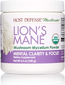 Host Defense, Lion's Mane Mushroom Powder, Supports Mental Clarity, Focus and Memory, Certified Organic Supplement, 3.5 oz (66 Servings)