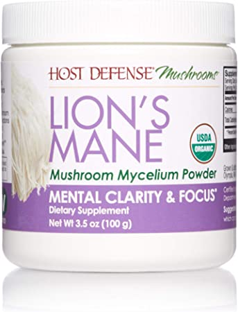 Host Defense, Lion's Mane Mushroom Powder, Supports Mental Clarity, Focus and Memory, Certified Organic Supplement