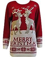 Womens XMAS jumper Ladies Reindeer Plus Size Merry Christmas Knitted Sweater Top