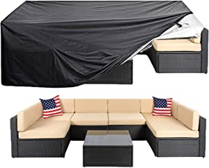 "Oslimea Patio Furniture Cover Super Large Outdoor Sectional Furniture Set Cover, Table Chair Sofa Covers, Waterproof Dust Proof Anti UV/Wind Protective Cover (124""x63""x29""Furniture Set Cover)"