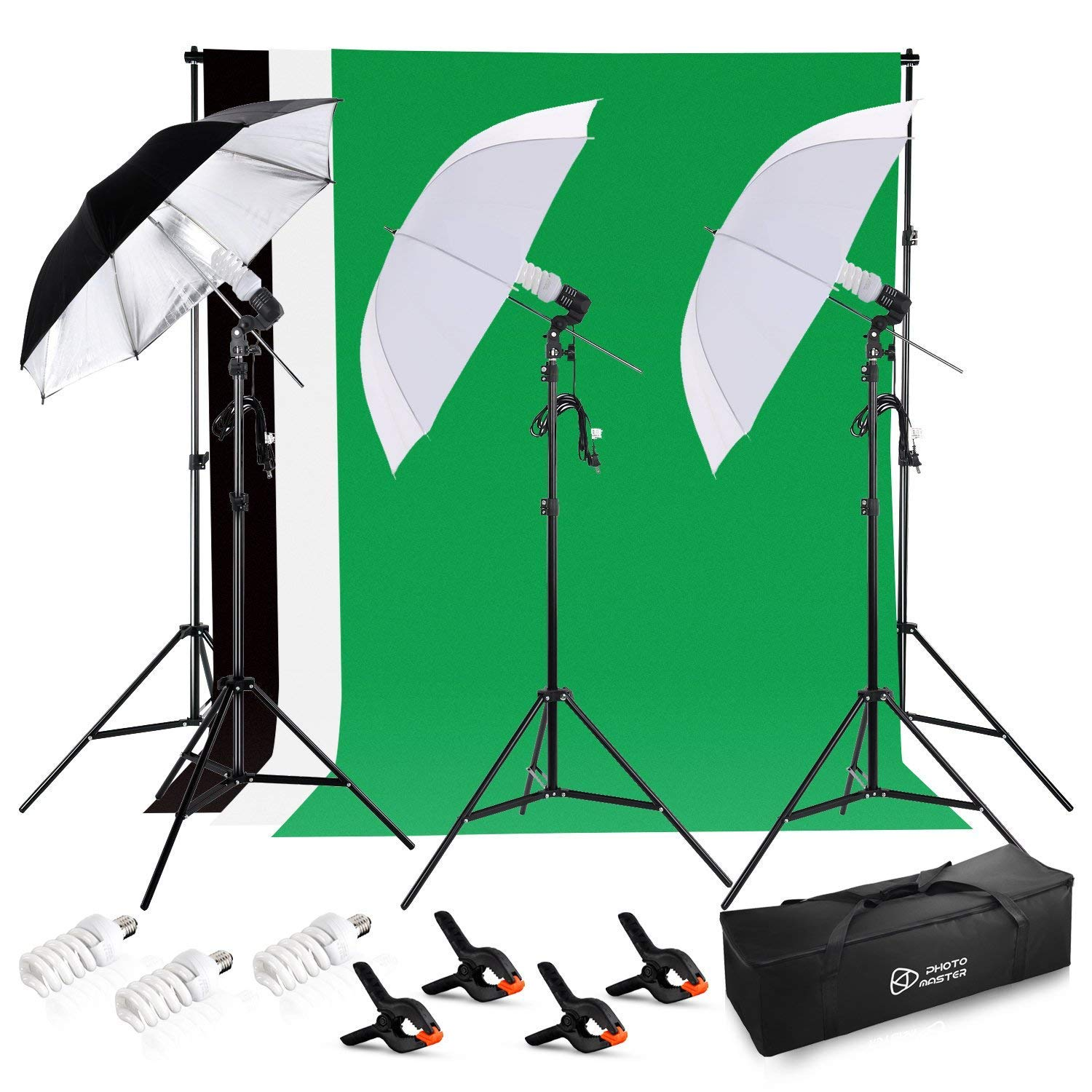 PHOTO MASTER 600W Photography Continuous Umbrellas Lighting Kit for Video Studio Includes 6x6.6ft Background Stand, 3 Backdrops, 2 Soft Umbrellas,1 Umbrella Reflector, 4 Clamps, Carrying Bags by PHOTO MASTER (Image #1)