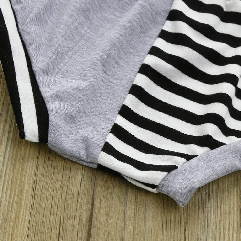 Kids Casual Suit,Jchen Shorts Outfits Set for 0-24 Months TM Toddler Infant Baby Boy Hooded Striped Splice Tops T-Shirt