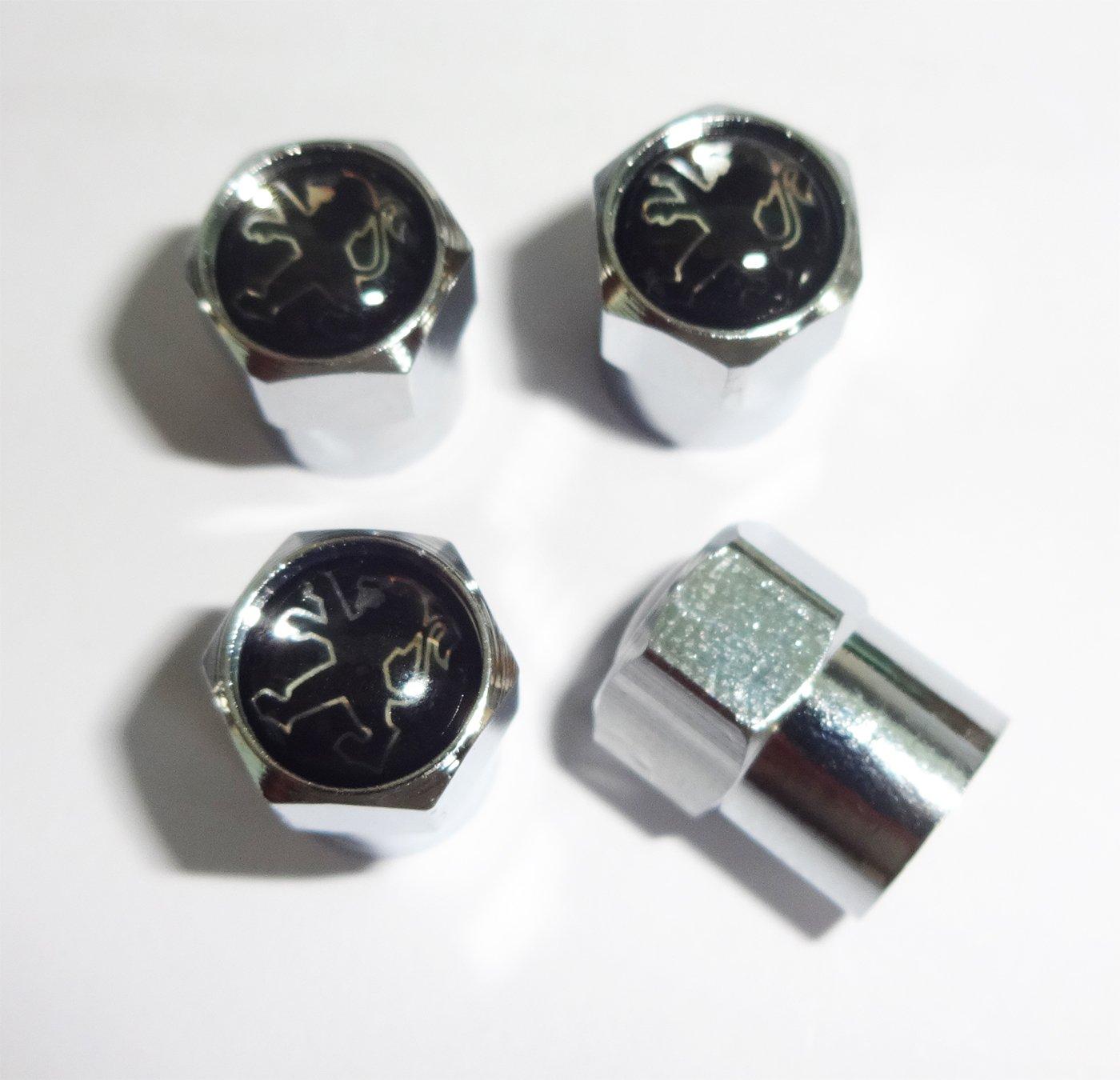 Noir et chrome Peugeot Bouchons de valve