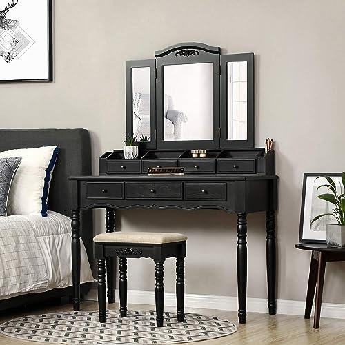 VASAGLE URDT Vanity Set, Tri-Folding Mirror, Black