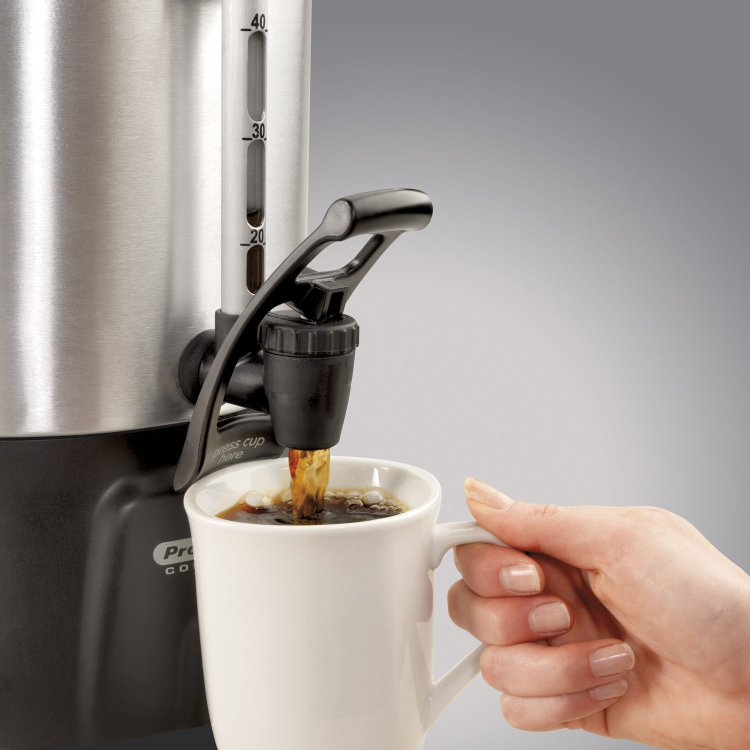 Proctor Silex Commercial 45060 Coffee Urn 60 Cup Aluminum Coffee Level Indicator 12.56 Length One Hand Dispensing 16.93 Height Stainless Steel 11.73 Width