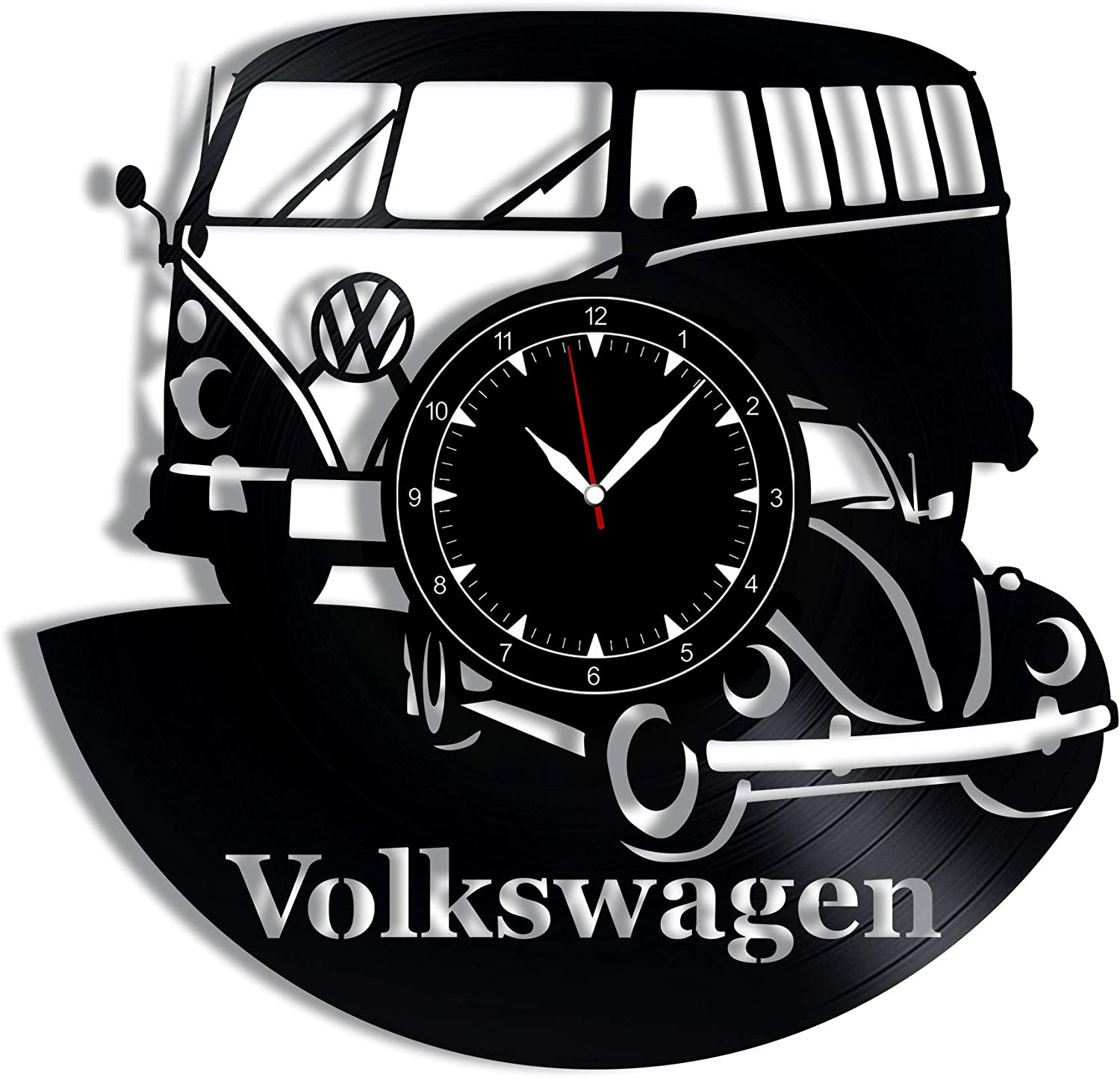 """Volkswagen Vinyl Record Clock 12"""" - Wall Clock Retro Car - Best Gift for Cars Lovers - Original Wall Home Decoration"""