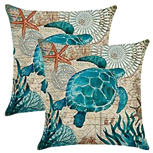 ULOVE LOVE YOURSELF Sea Turtle Throw Pillow Case Mediterranean Style Sea Theme Decorative Square Cotton Linen Cushion Cover for 18 X 18 Inch Pillow Inserts,2 Pack (Sea Theme-Sea Turtle)