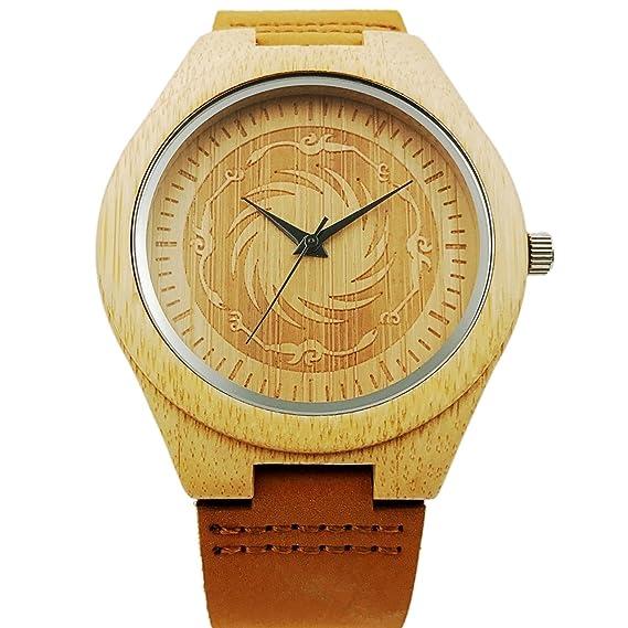 Nuevo Reloj de madera hecho a mano de cuarzo vendimia casual reloj de pulsera regalos (