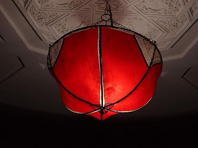 Marruecos techo Lámpara oriental de cuero accesorio de henna ...
