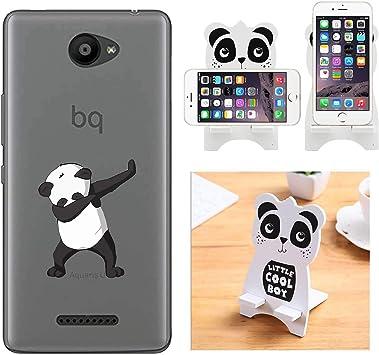 Reshias Funda BQ Aquaris U/U Lite, Cárcasa Silicona Transparente Gel TPU Protector Bumper Case Cover para Teléfono Móvil BQ Aquaris U/U Lite (Panda) con (1 Pack) Soporte Teléfono: Amazon.es: Electrónica