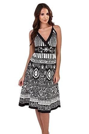 24025d5a3 Pistachio Womens Crossover Dress Midi Floral Knee Length Cotton Ladies  Summer Wear: Amazon.co.uk: Clothing
