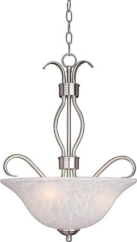 Maxim 10121ICSN Basix Ice Glass Invert Bowl Pendant Ceiling Light, 3-Light 180 Watts, 23 H x 17 W, Satin Nickel