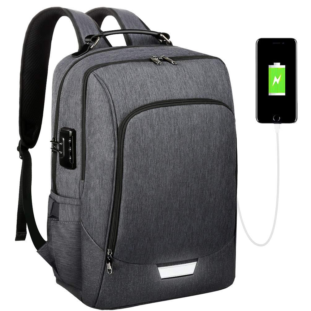 VBG VBIGER 17-inch Laptop Backpack for Men Travel Laptop Backpack Slim 17 inch Security Business Backpack with Lock and USB Charging Port Slim Water Resistant College School Computer Bag for Men Women