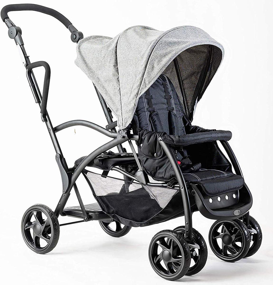 一台で2人乗せることが可能 ハンドルの高さ調節が可能 シェードも可動式でお子様を守れる フットブレーキ付き 座席はリクライニング可能 ストッパー付きで安全 (グレー色) グレー