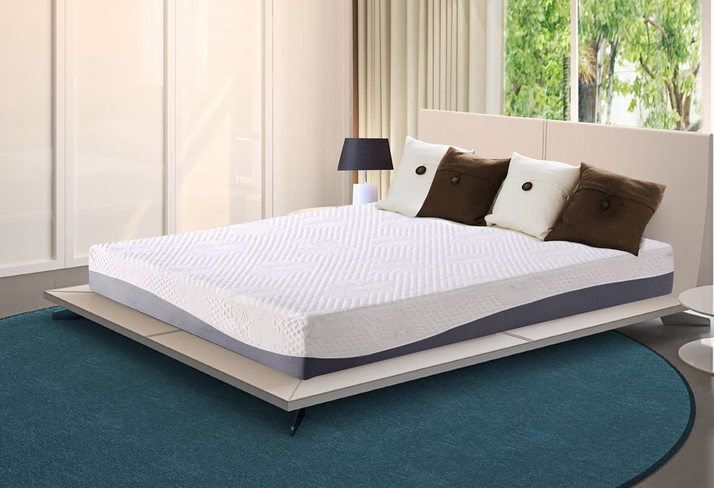 Olee Sleep 10 Inch Grey I Gel Layer Top Memory Foam Mattress 10FM02K