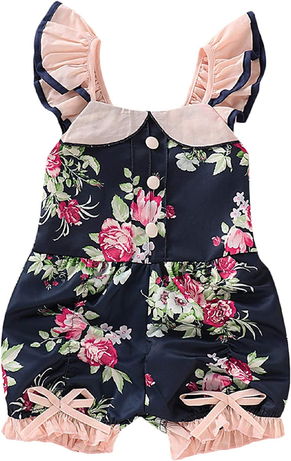 Fyhuzp Infant Baby Girl Romper Bodysuit Toddler Newborn Ruffles Floral Jumpsuits Outfit Summer Flower Clothes
