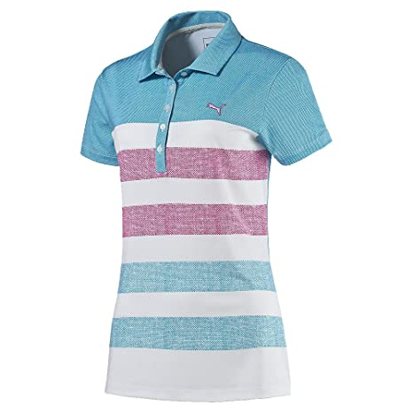 PUMA Golf Womens Road Map Texture Polo, XS, Blue