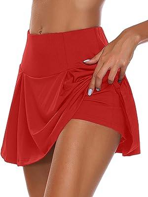 UMINA Active Skort Women Athletic Tennis Skorts for Running Golf Workout Wine Red