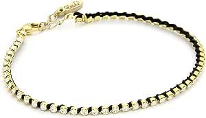 Ettika Gold Colored Small Rhinestone Tennis Anklet