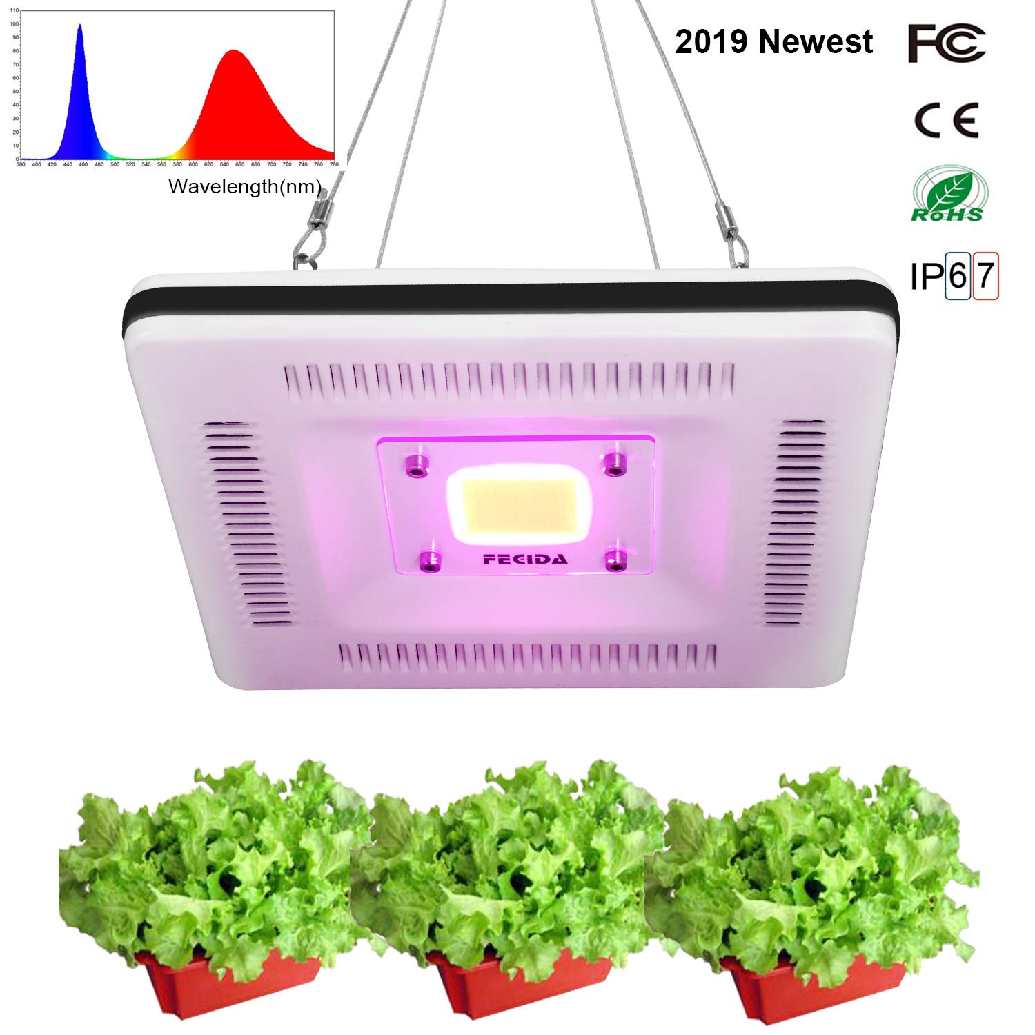 2019 Updated LED Grow Light Waterproof, 300W CFL & HPS Grow Lights Full Spectrum Equivalent, Silent and Lightweight for Indoor Grow Tent Plants Seed Starting, Seedlings Growing, Flowering by FECiDA