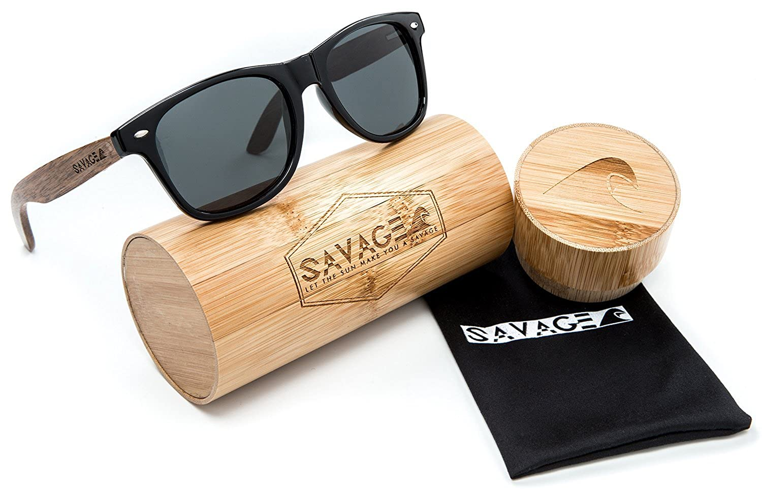 ec9cd24fc3f Amazon.com  SAVAGE original bamboo wayfarer polarized sunglasses -  handmade! (Black)  Clothing