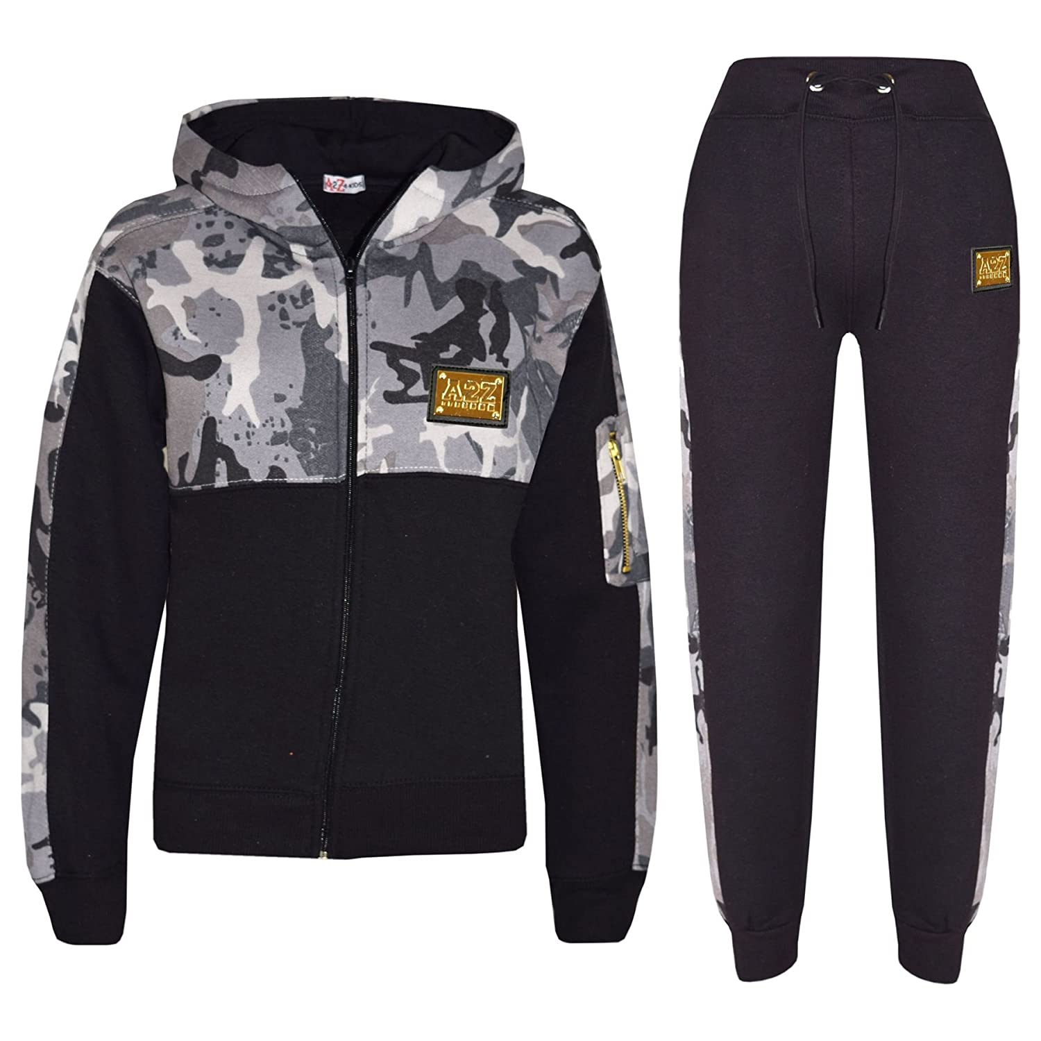 A2Z 4 Kids® Kids Boys Girls Tracksuit Designer's A2Z Badged Camouflage Charcoal Contrast Panel Hooded Zipped Top Botom Jogging Suit Age 5 6 7 8 9 10 11 12 13 Years