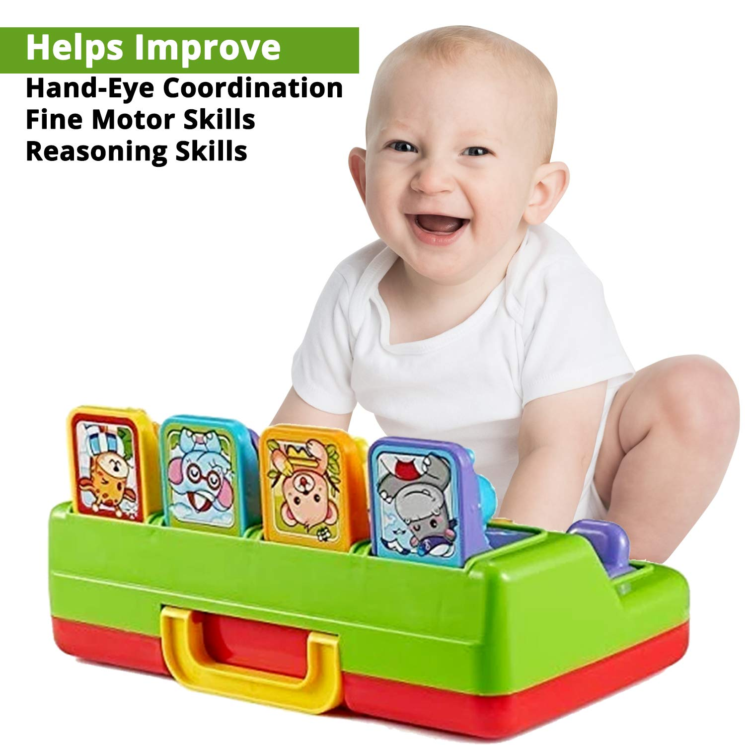 First Toys Interactive Pop Up Animals Toy for Toddlers 9 M+ - Gift for Toddler Boys /& Girls Animal Sounds Activity// Learning Toy for Kids with Music