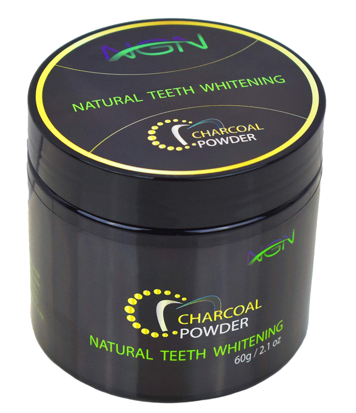 Teeth Whitening Charcoal Powder Natural (60g) by NGN - 100% Organic, Activated Coconut Charcoal Teeth Whitener with Mint Flavor - Removes Tea and Coffee Stains - Cheap Alternative to Strips & Gel