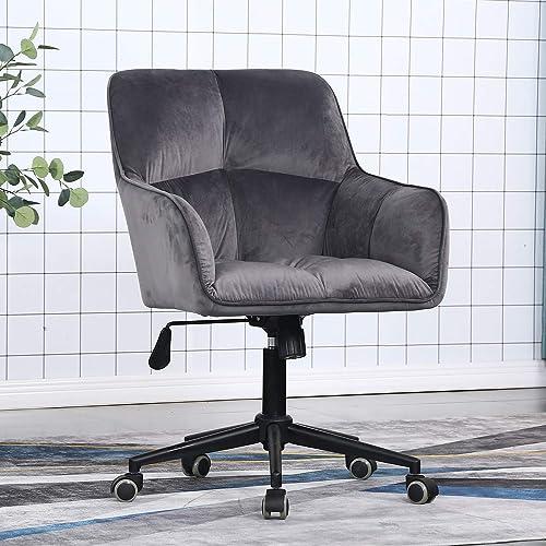 Desk Chair Modern Simple Mid-Back Velvet Upholstered Swivel Home Office Chair
