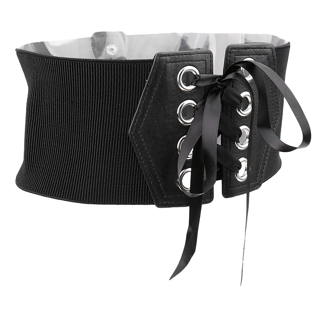 ed08e03458 Magideal Women s Faux Leather Waist Belt Cincher Corset Band Elastic Tied  Waspie (Black)  Amazon.in  Clothing   Accessories