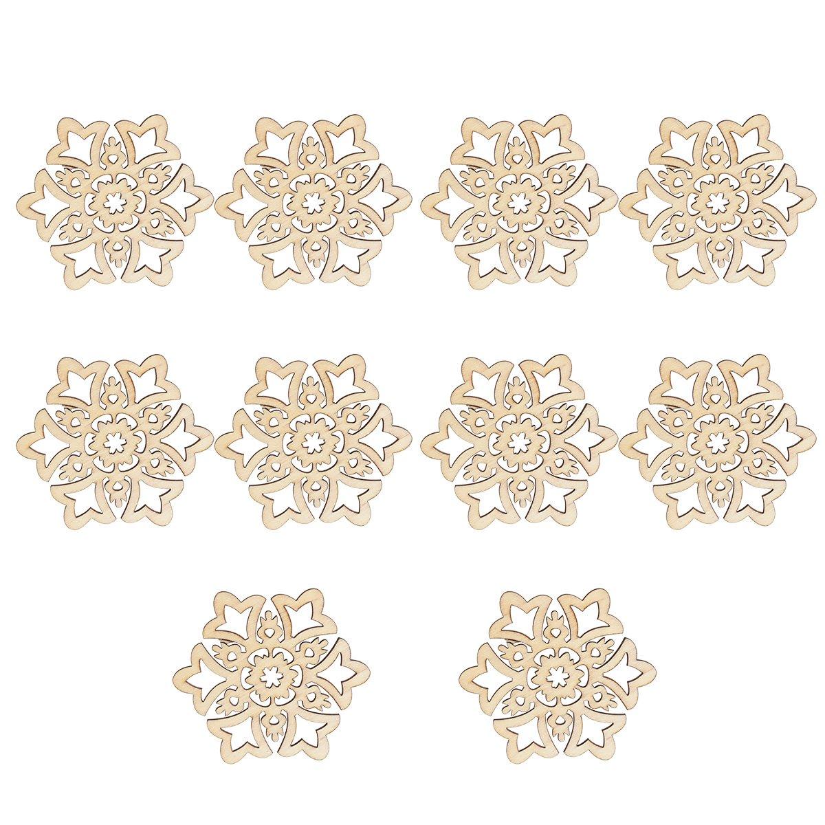 ULTNICE Fiocco di neve in legno Abbelimento decorativo per Natale Ciondoli fiocco di neve da appendere con Corda per canapa(10 pcs